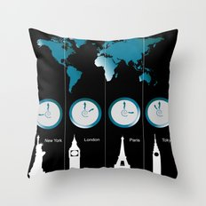 TIME ZONES. NEW YORK, LONDON, PARIS, TOKYO Throw Pillow