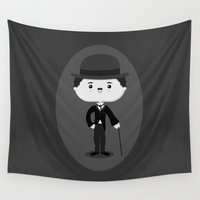 charlie Wall Tapestries featuring Charlie Chaplin by Sombras Blancas Art & Design