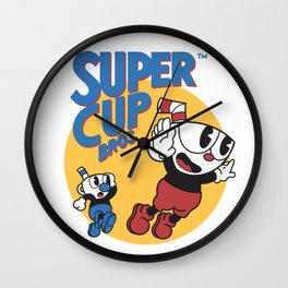 Super Cuphead Bros Wall Clock