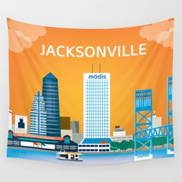 Jacksonville, Florida - Skyline Illustration by Loose Petals Wall Tapestry