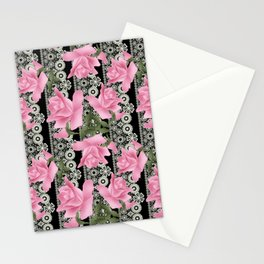 Gentle roses on a lace background. Stationery Cards