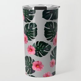 Tropical pattern n.1 - grey Travel Mug