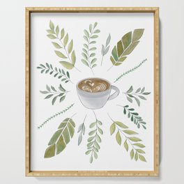 Coffeehouse Botanicals / Cozy Coffee + Leaves Design Serving Tray