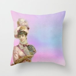 Vintage Woman Neck Gator Fancy Hat Woman Vintage Lady Throw Pillow