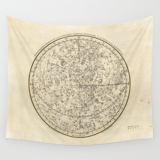 Vintage Celestial Map Wall Tapestry By Kristiana Art