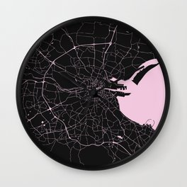 Dublin Street Map Black and Pink Wall Clock