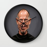 celebrity Wall Clocks featuring Celebrity Sunday ~ Steve Jobs by rob art | illustration