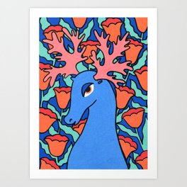 Blue deer Art Print