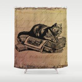 Vintage Cat Collage-Grunge Background Shower Curtain