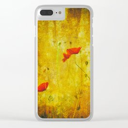 Poppies In The Golden Garden Clear iPhone Case