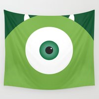 pixar Wall Tapestries featuring PIXAR CHARACTER POSTER - Mike Wazowski - Monsters, Inc. by Marco Calignano
