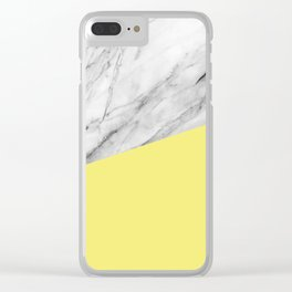 Marble and Yellow Color Clear iPhone Case