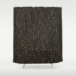 Luxury Black Gold Party Streamers Pattern Seamless Vector Shower Curtain