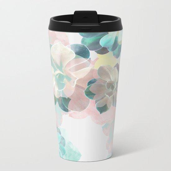 Succulent Pattern Metal Travel Mug