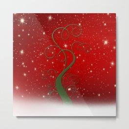 Christmas modern day snow star red Metal Print