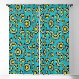 African teal hand-drawn cropped Mandalas Blackout Curtain