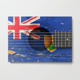 Old Vintage Acoustic Guitar with Turks and Caicos Flag Metal Print