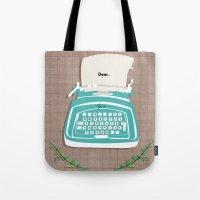 typewriter Tote Bags featuring typewriter by WreckThisGirl