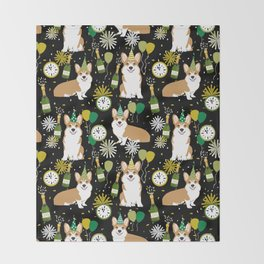 Corgi New Years Eve - corgi nye, celebration, dog, dogs, corgi pattern, cute corgi Throw Blanket