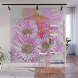 Pink Gerber Painterly Watercolor Wall Mural
