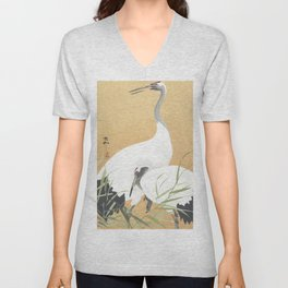 Couple Of Cranes - Vintage Japanese Woodblock Print Art Unisex V-Neck