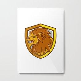 Angry Lion Head Roar Shield Cartoon Metal Print