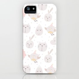 Pastel pink gray cute magical funny unicorn animals iPhone Case