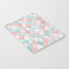 Mermaid Coral, Rose Gold, Pastel Pink, Aqua and Teal, Cute Colorful Pattern Notebook