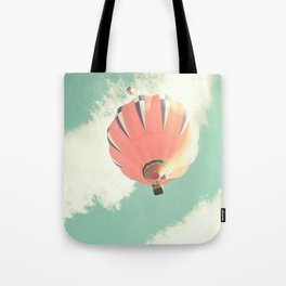 Nursery coral hot air balloon over mint sky Tote Bag