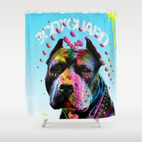 pitbull Shower Curtains featuring pitbull  by mark ashkenazi