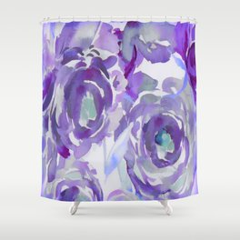 Purple Haze Painterly Floral Abstract Shower Curtain
