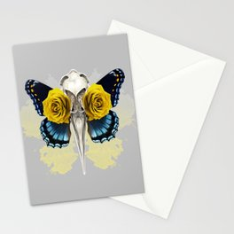Bird skull and yellow roses Stationery Cards