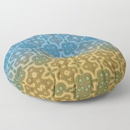 Blue and Gold Moroccan Boho Chic Inspired Tile Mosaic Floor Pillow