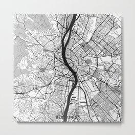 Budapest Map Gray Metal Print