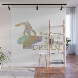 Live Your Dream Gymnastics Design in Watercolor and Gold Wall Mural