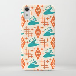 Mid Century Modern Space age Boomerang Pattern Turquoise and Orange 329 iPhone Case