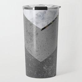 Marble Gray Copper Black Gold Chevron Travel Mug