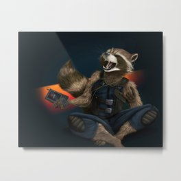 Rockin Raccoon Metal Print