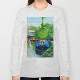 A narrow boat stops after passing through Coxes Lock near Addlestone in Surrey.  Long Sleeve T-shirt