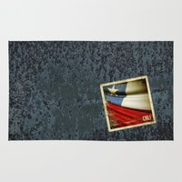 chile Area & Throw Rugs featuring Chile grunge sticker flag by Lulla