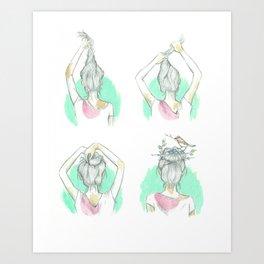 Messy Bun Art Print