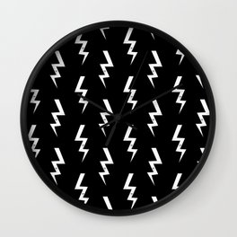 Bolts lightening bolt pattern black and white minimal cute patterned gifts Wall Clock