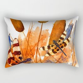 Banded Dragonflies and Cattails Rectangular Pillow