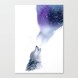 Howling Wolf in The Starlit Night Canvas Print