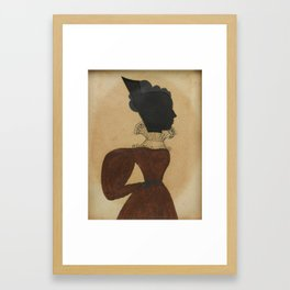 Ezra Wood, the Puffy Sleeve Artist (active 1830 - 1831) SILHOUETTE PORTRAIT OF A LADY WEARING A RED Framed Art Print