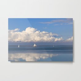 The Waddensee in Holland - Romantic View with White Clouds, Blue Sky and Boats Metal Print