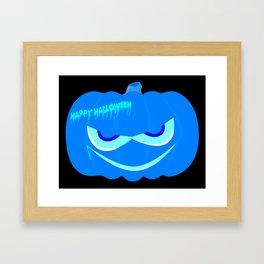 Evil Blue Halloween Pumpkin Framed Art Print