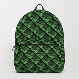 Interweaving square tile made of green rhombuses with dark gaps. Backpack