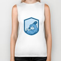 hercules Biker Tanks featuring Hercules Wielding Club Shield Retro by patrimonio