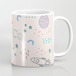 Cool Colorful Crayon Space Rocket Ship Minimal Art Coffee Mug